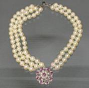 Perlarmband, fünfreihig, 2x 18 und 3x 17 Akoya-Zuchtperlen ø ca. 7.5 mm, Schließe WG 750, 17 facett