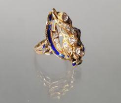 Ring, GG 585, reicher Diamantbesatz, blaues Email (teils berieben), 7 g, RM 17.5