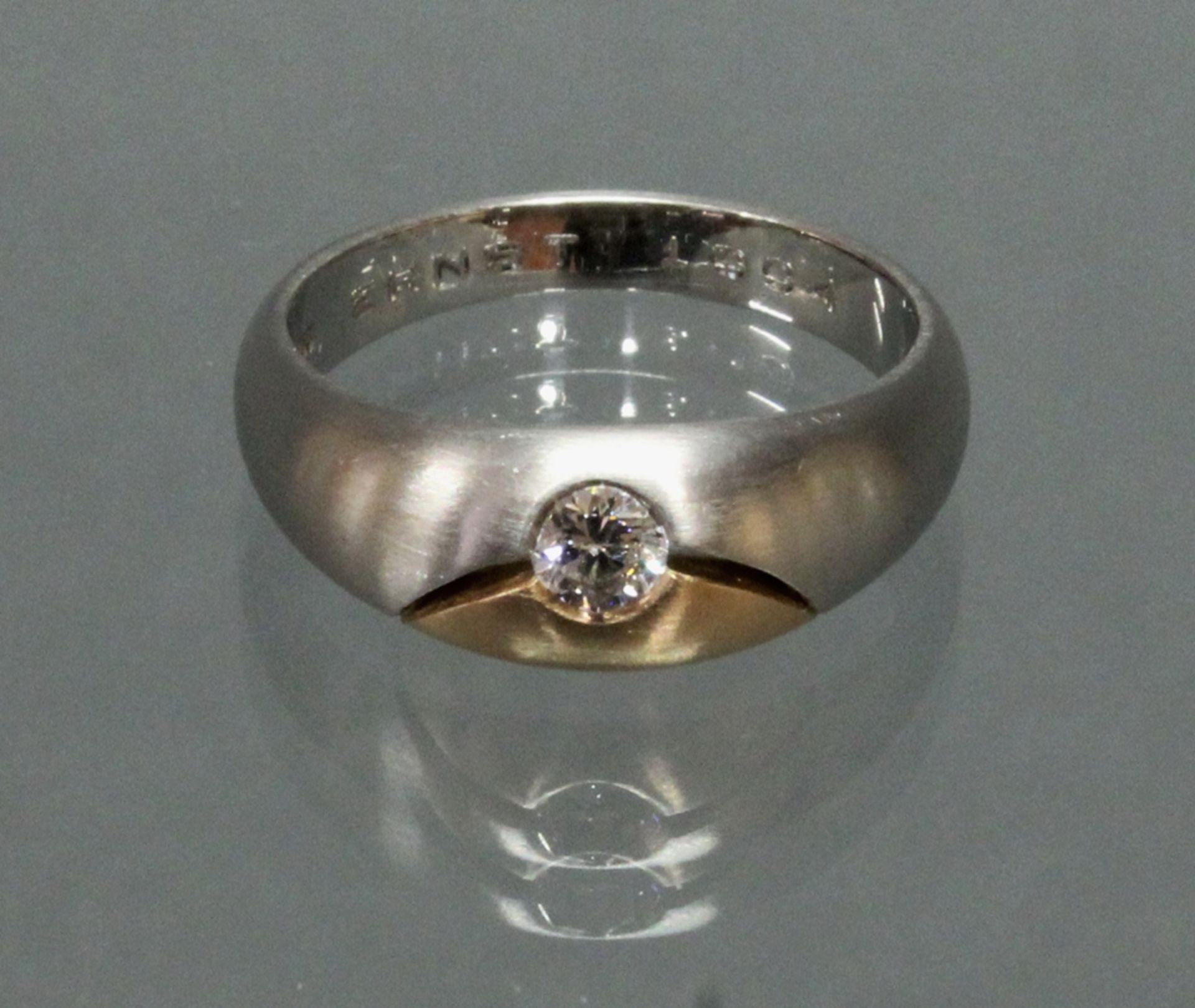 Ring, Platin 960/Roségold 750, 1 Brillant ca. 0.20 ct., etwa fw/vsi, innen Widmung, 10 g, RM 19