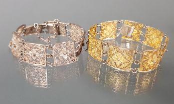 2 Armbänder, Ende 19. Jh., Silber 800/1x vergoldet, a jour gearbeitet, 19 cm bzw. 22 cm lang