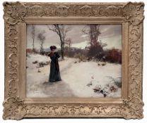 Woman in Winter Landscape by Antal Neogrady