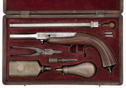 A Percussion Cased Parlor Pistol with Interchangeable Barrels