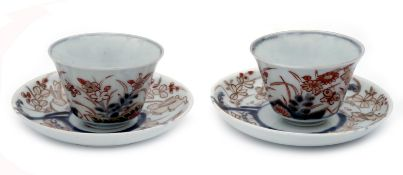Two Imari-Style Cups and Saucers