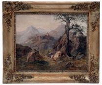 Alpine Mountain Landscape with Castle by Antonin Manes