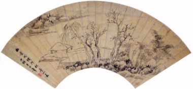 A folding fan with an ink literati landscape in the style of Chinese imaster Ni Tsan