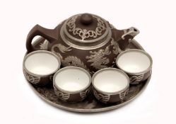 Chinese Pewter Yixing Pottery Tea Set