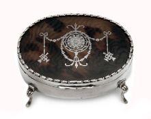 Edwardian Silver Tortoiseshell Lidded Trinket Box