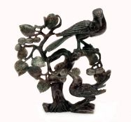 Carved Jade Statue Featuring Birds and Flowers