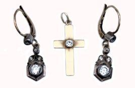Earrings and cross pendant