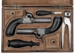 A Cased Pair Percussion Pocket Pistols
