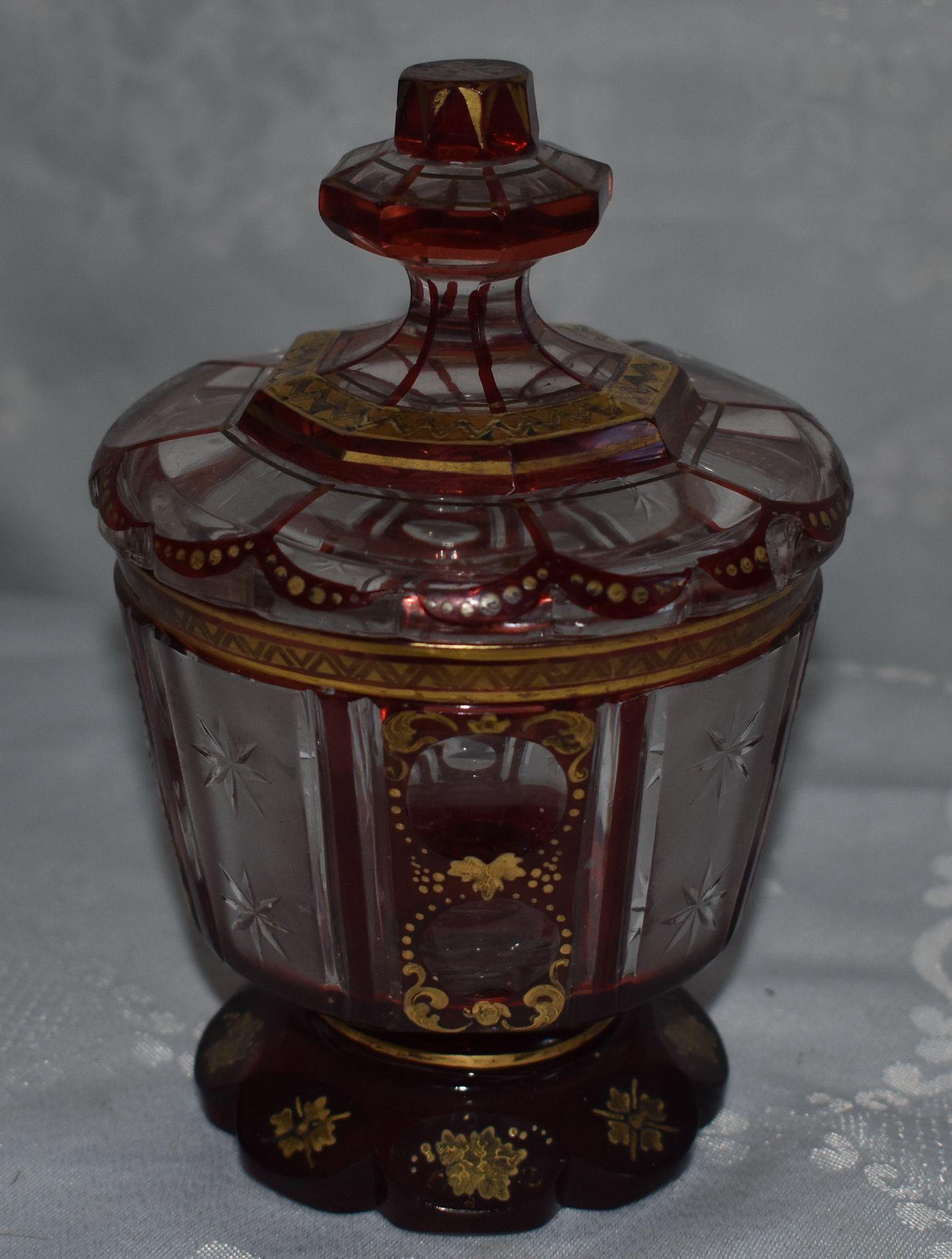 Rubinglas mit Deckel, Bonboniere, - Bild 2 aus 2