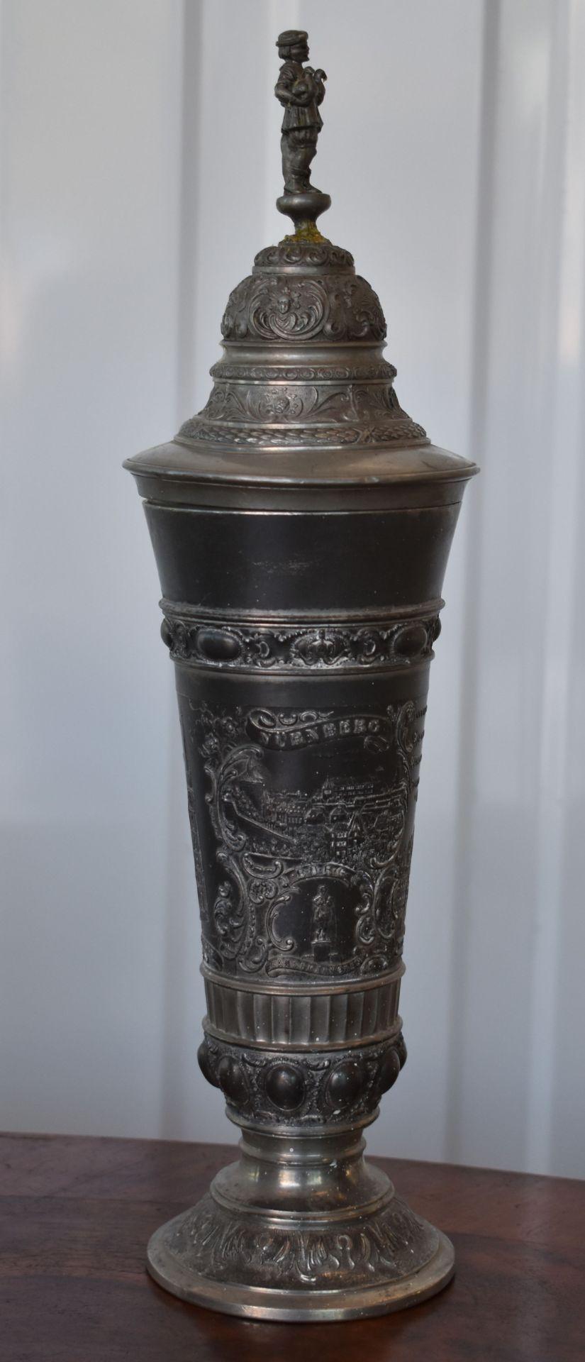 """Deckelpokal Zinn um 1900, """"Nürnberg"""""""