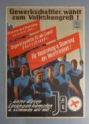 """POLITISCHES PLAKAT DER DDR: HELMUT SEIFERT """"GEWERKSCHAFTLER, WÄHLT ZUM VOLKSKONGRESS!"""""""