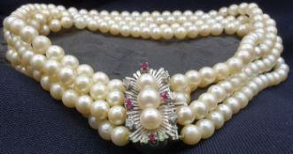 PEARL CROP BAND WITH BRILLION AND RUBY SET
