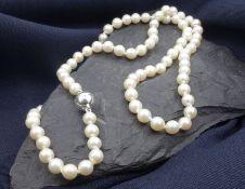PERLENKETTE, weiße Perlen (D. 6,5 mm), einzeln geknotet, mit silberfarbenem Magnetverschluss. Länge: