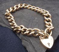 BRACELET with heart-shaped lock - 375 rose gold