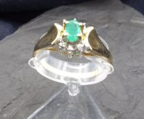 RING WITH TURMALINE - 585 yellow gold