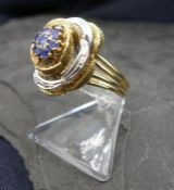 BICOLOR RING WITH SAPHIRES - 750 gold