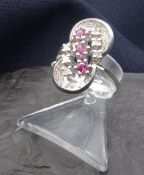 ring with brilliants and rubies - 585 white gold