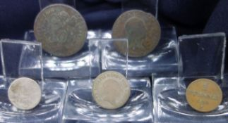FIVE COINS FROM 1800-1859