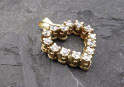 HERZ - ANHÄNGER, 585er Gold (2,5 g), herzförmig gestalteter Anhänger mit Zirkonia-Besatz und Öse.