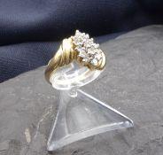 RING, 585er Gold (4,8 g), Ringkopf besetzt mit 15 Brillanten in Ellipsenform. Ringkopfmaße 1,7 x 1,3