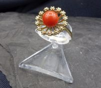 CORAL RING - 333 yellow gold