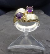 RING WITH AMETHYST SET - 585 yellow gold