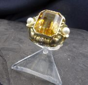 RING WITH CITRIN - 585 yellow gold