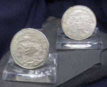 TWO SPANISH SILVER MEDALS TO REMEMBER COLUMBUS' 1492 SEA TRIP