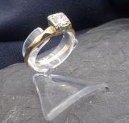 SOLITÄRRING, 750er Gold (2,3 g), Ringkopf besetzt mit einem Brillanten von 0,2 ct., Ringgr. 59.