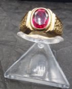RING WITH RUBY - 585 red gold