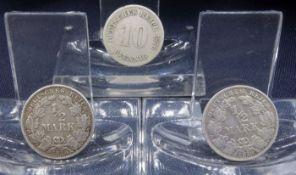 THREE COINS OF 1876-1919