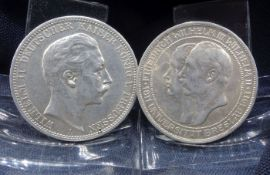 TWO COINS: THREE MARK 1911 and 1912