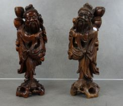TWO ASIAN WOODEN FIGURES