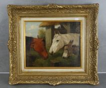 """ALFRED FRANK DE PRADES - PAINTING: """"DONKEY AND HORSES IN FRONT OF THE STABLE""""."""