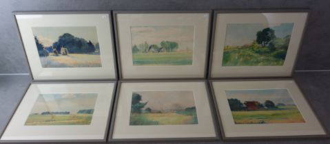 6 THEODOR DOEBNER - WATERCOLORS AND 2 DRAWINGS
