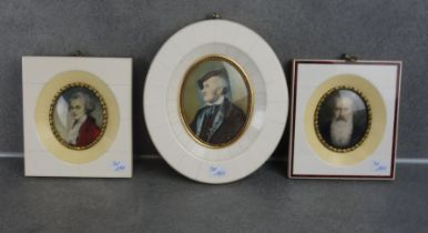3 MINIATURES IN BONE FRAME: PORTRAITS OF COMPOSERS