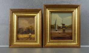 """TWO MINIATURE PAINTINGS: """"Water bearer"""" and """"Water with mill"""""""