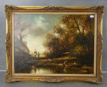 """F. SEITZ - PAINTING: """"LANDSCAPE WITH RIVER COURSE"""""""