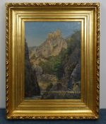 """PAINTING: """"LANDSCAPE WITH A VIEW OF KARNEID CASTLE"""""""