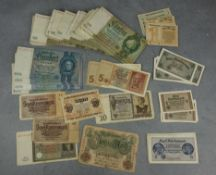 COLLECTION OF PAPER MONEY/ BANKNOTES (REICHSMARK), VOUCHERS AND RENTENMARK