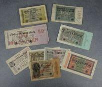COLLECTION OF PAPER MONEY / BANKNOTES / MONEY BONDS - REICHSBANKNOTEN (MARK) .