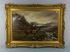 """PAINTING: """"HIGHLAND CATTLE IN A WIDE LANDSCAPE"""""""