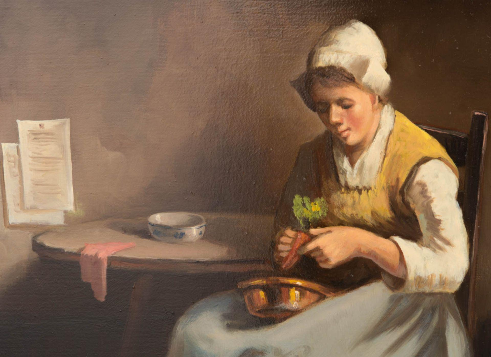 Sign. A. Kremer, Bäuerliche Küchenszene, Öl auf Leinwand, 19. Jh.Vermutlich hollän - Bild 2 aus 5