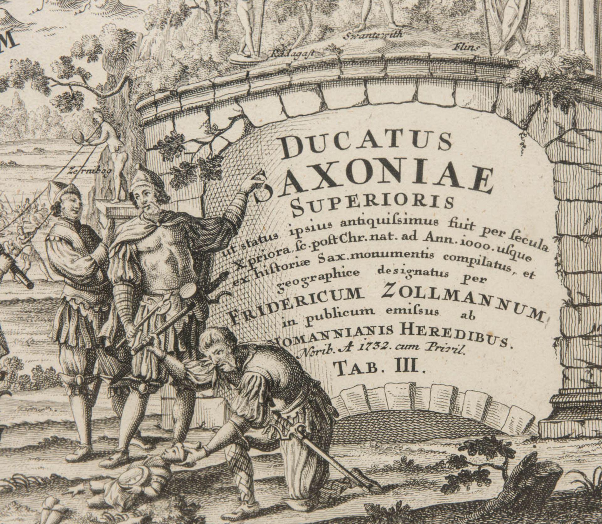 Ducatus Saxoniae, Antike Landkarte des Frankenreiches.Hinter Glas gerahmt. 65 - Bild 2 aus 4