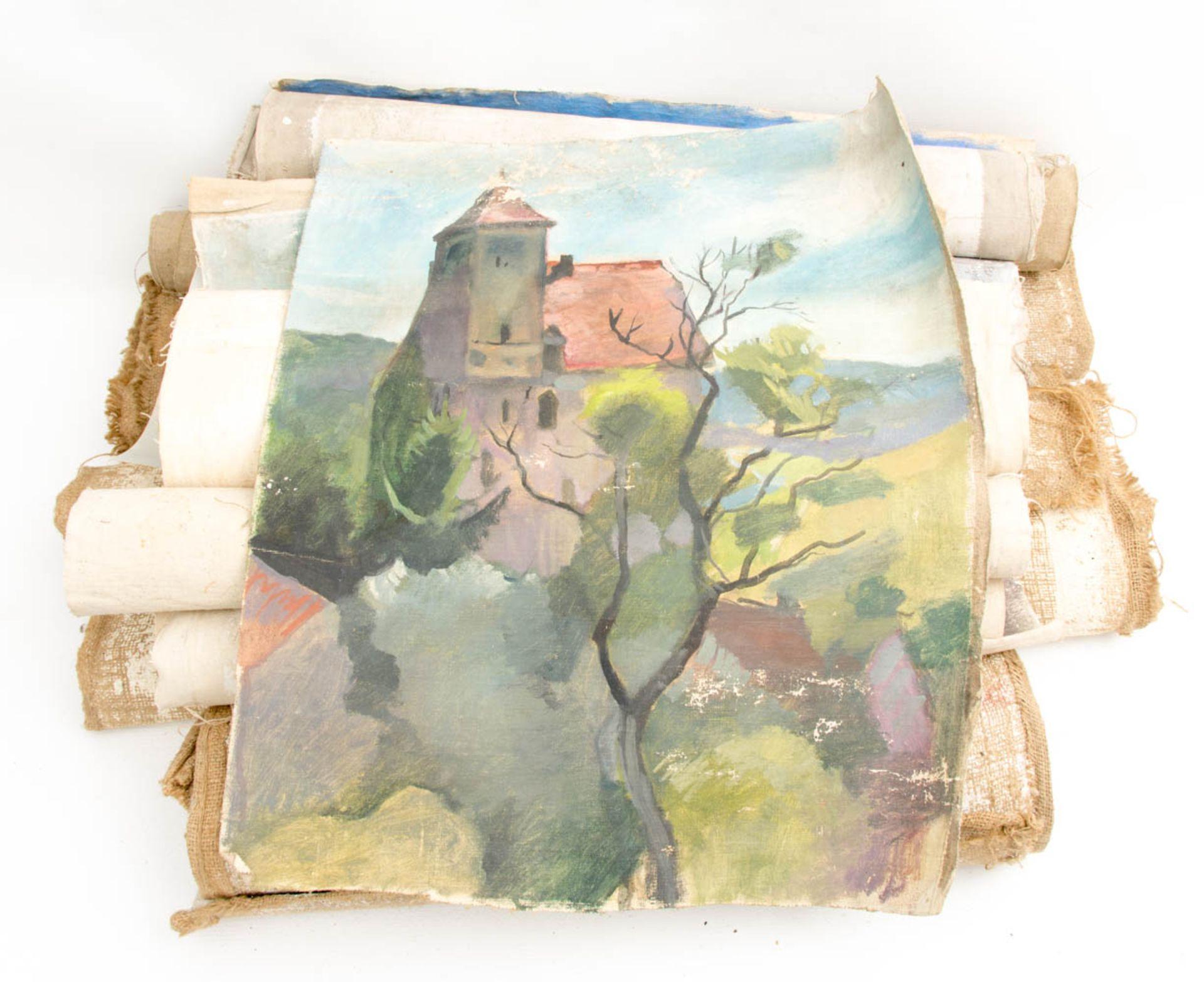 Norbert von Stetten und Andere, Verschiedene Acrylbilder auf Leinwand und Gips, 20. Jh.<br / - Bild 4 aus 7
