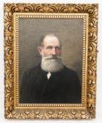 Monogrammiert Ad. Müller, Portrait eines Herren in Schwarz, Öl auf Leinwand, 1903.Ge