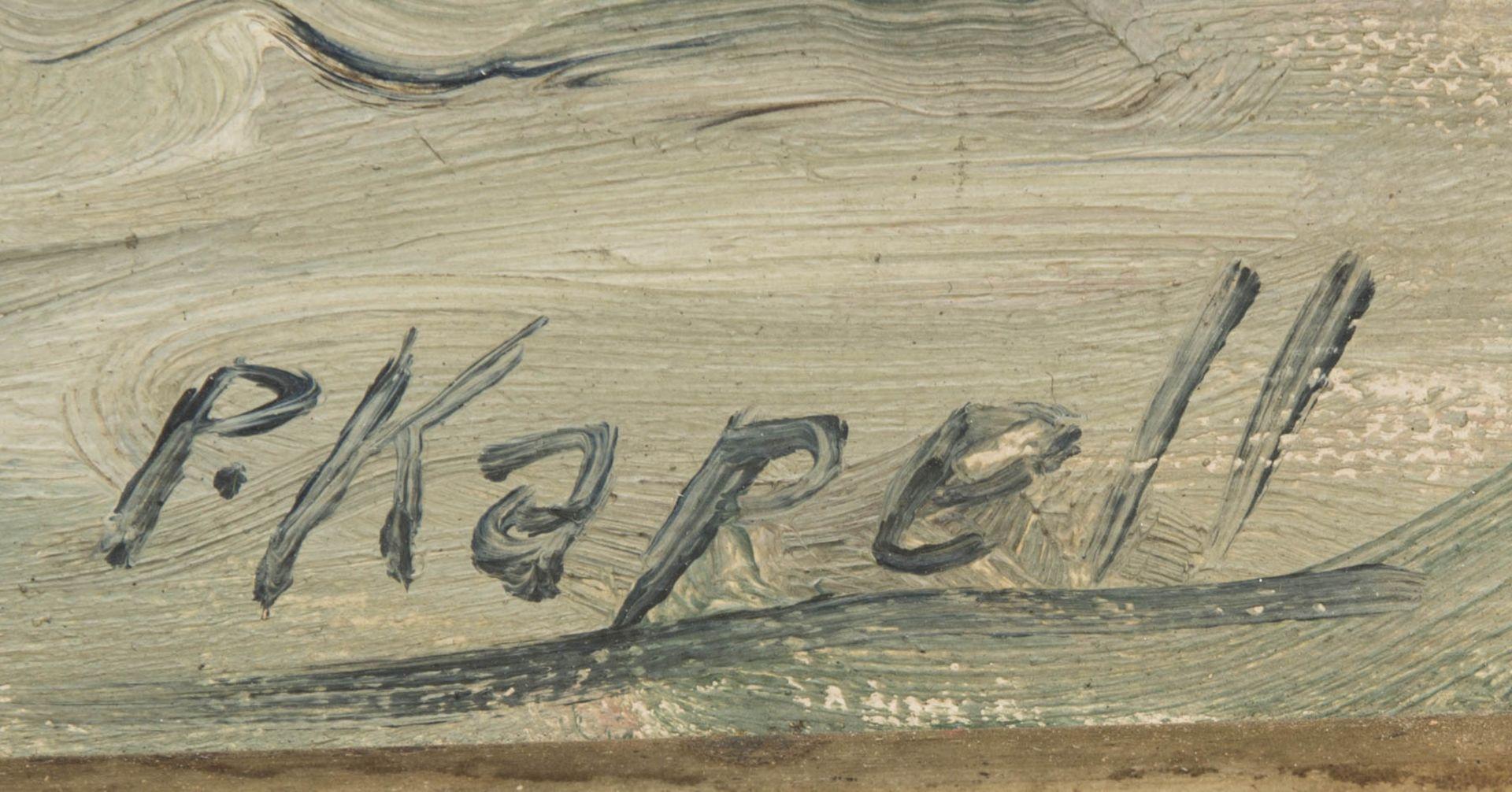 Paul Kapell, Segelboot, Öl auf Karton, 19./20. Jh.Landschaftsansicht, Segelboot im Wi - Bild 3 aus 6