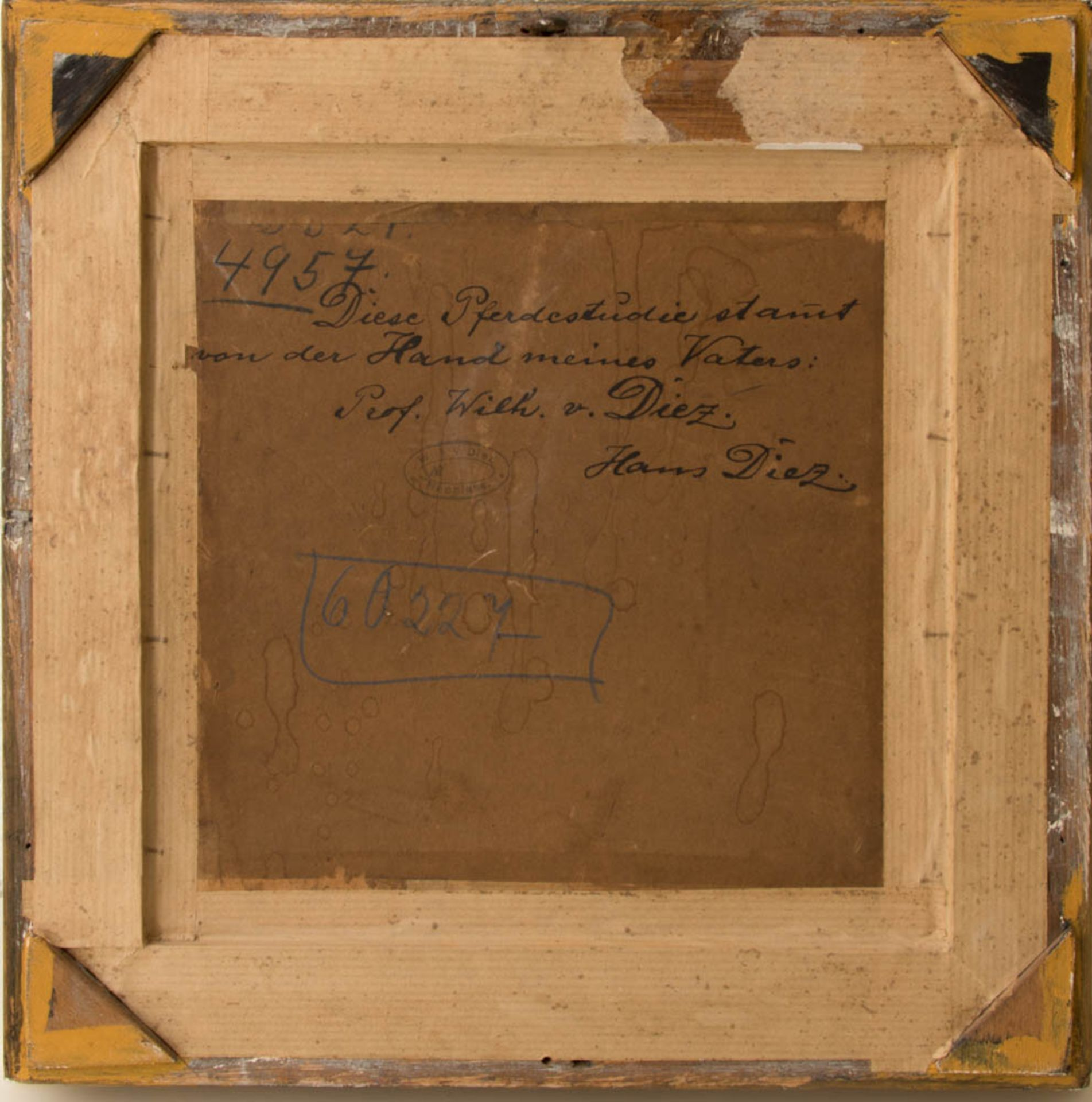 Wilhelm von Diez, Pferdestudie, Öl auf Platte, 19. Jh. - Bild 5 aus 5